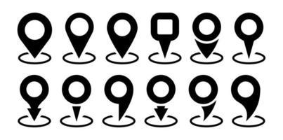 conjunto de iconos de ubicación. marcador de lugar de pin de mapa. colección de símbolos de ubicación gps, diseño plano aislado. ilustración vectorial sobre un fondo blanco. vector