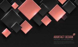 Abstract geometric background with rhombus shapes, black and pink gold color. Modern and minimal concept. You can use for cover, poster, banner web, Landing page, Print ad. Vector illustration