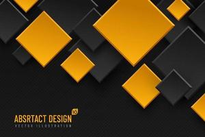 Abstract geometric background with rhombus shapes, black and yellow golden color. Modern and minimal concept. You can use for cover, poster, banner web, Landing page, Print ad. Vector illustration