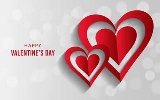 hermoso fondo feliz día de san valentín con corazones de amor y sentimientos. vector