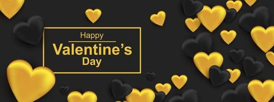 Happy Valentines day horizontal web banner. Realistic black and gold heart vector