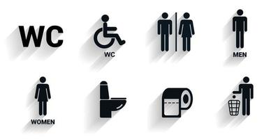 Toilet icons set in with shadow. Toilet signs, Restroom icons. Bathroom WC signs. Flat design. Vector illustration.