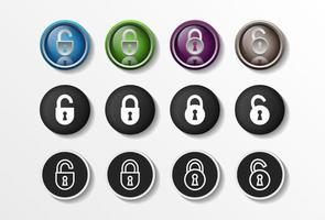 Los iconos de bloqueo establecen una ilustración de vector de diseño plano de seguridad cerrado y abierto realista en 4 opciones de colores para diseño web y aplicaciones móviles. ilustración vectorial.