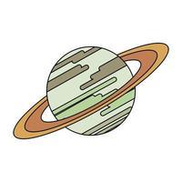 Saturno vía láctea planeta símbolo aislado vector