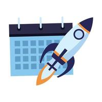 calendar schedule flipchart and rocket with fire icon cartoon