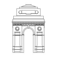 Indian gateway emblem building symbol isolated in black and white vector