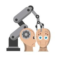 artifical intelligence icons concept cartoon vector