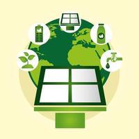 cartel ecológico con planeta tierra y panel solar.