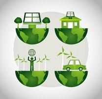 Cartel ecológico con conjunto de iconos de planeta tierra