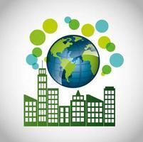 cartel ecológico con edificios de la ciudad.