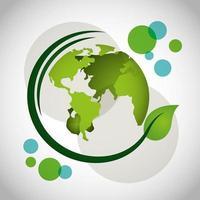 Cartel ecológico con planeta tierra y planta de hojas.