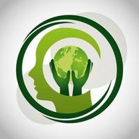 Póster ecológico con planeta tierra y perfil humano.
