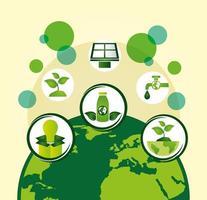 cartel ecológico con el planeta tierra y los iconos