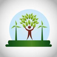 cartel ecológico con figura humana y hojas.