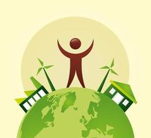 cartel ecológico con el planeta tierra y el carácter humano.