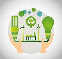 cartel ecológico con manos levantando planta de energía