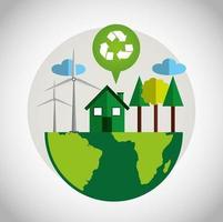 Cartel ecológico con planeta tierra y símbolo de reciclaje