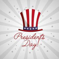 Happy USA presidents day celebration poster with top hat