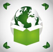 cartel ecológico con el planeta tierra en una caja