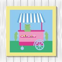 Kawaii cute little frog with food cart