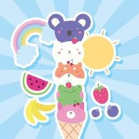 cute little animals in ice cream cones, kawaii characters vector