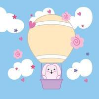 lindo conejito en un globo de aire caliente