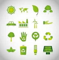 bundle of ecology icons vector