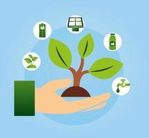 cartel ecológico con mano levantando una planta