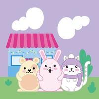 lindos animales y plantas, personajes kawaii