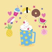 sweet strawberry and fruits, kawaii style vector