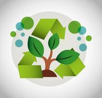 Cartel ecológico con icono de planta y reciclaje. vector