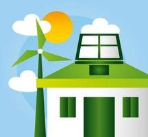 cartel ecológico con casa y energía eólica.