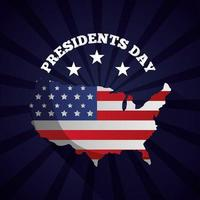 happy presidents day celebration poster with usa flag in map vector