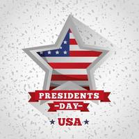 happy presidents day celebration poster with flag in star vector