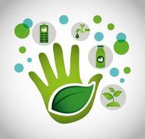 cartel ecológico con mano y hojas.