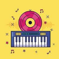 sintetizador, música, colorido, plano de fondo vector