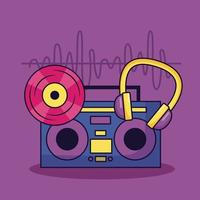vintage boombox stereo vinyl and headphones music colorful background vector