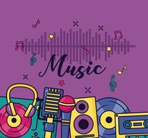 music colorful background vector
