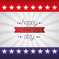 happy presidents day celebration poster with lettering and flag vector