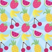 Fruits pattern kawaii style vector