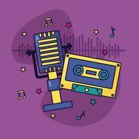 micrófono retro cassette música colorido fondo vector