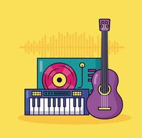 synthesizer, guitar, and turntable music colorful background