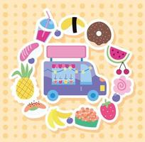 Ice cream truck with kawaii style icons vector