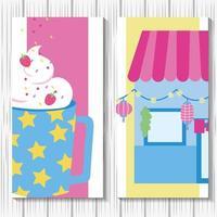 Cute kawaii style banner set vector