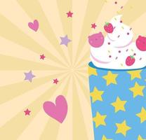 sweet strawberry smoothie and hearts, kawaii style vector