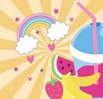 sweet fruits juice with straw and rainbow, kawaii style vector