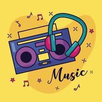 boombox y auriculares música de fondo colorido vector