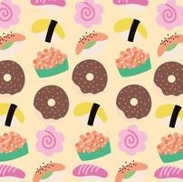 sweet pastry food kawaii style pattern vector