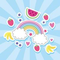 fruits and rainbow kawaii style vector