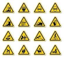 Señales de advertencia de peligro etiquetas signo aislado sobre fondo blanco.